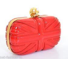 Alexander McQueen Teschio Rosso Pelle Verniciata Britannia CLUTCH BAG nuova con etichetta