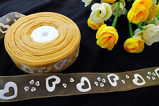 4M GOLD WHITE HEART ORGANZA 25mm RIBBON CRAFT SEWING WEDDING CAKE DECORATION