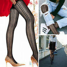 Black Punk Rock Gothic Striped Tights Sheer Diamond Vertical Stripes Pantyhose