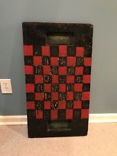 Vintage Americana Hand Painted Wood Checker Board - Folk Art chess man cave game