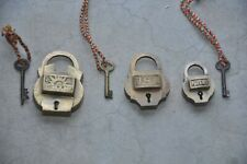 3 Pc Old Brass Handcrafted Different Brands Padlocks , Rich Patina