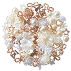 50pcs NATURAL Flatback Pearl Embellishments Cabochon Scrapbooking Wedding Craft