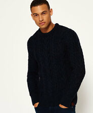 New Mens Superdry Jacob Heritage Crew Neck Jumper Rich Navy Twist