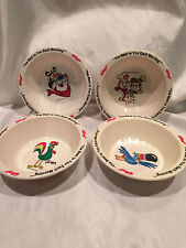 1995 Kelloggs Cereal 4 Small Breakfast Bowls Tony Tucan Snap Crackle Pop Rooster