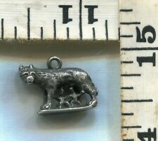 VINTAGE STERLING BRACELET CHARM~#84367~A GREAT ROMULUS AND REMUS~CHEAP AT $16.00