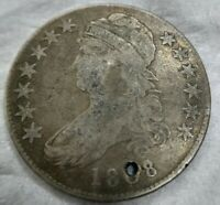 1808/7 Capped Bust Half Dollar 8 over 7 Overdate, VG Very Good or Fine F Details