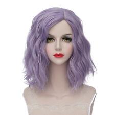Lolita Heat Resistant Light Purple Ombre Curly Women Harajuku Cosplay Wig + Cap