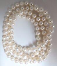 7.3mm Natural Japoneses Perlas Eterno Collar / Doble Envolvente 86.4cm+