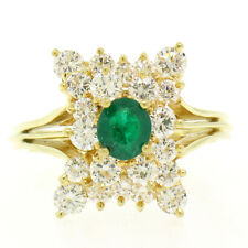 Estate 18k Yellow Gold 1.78ctw Oval Emerald & Round Diamond Pyramid Cluster Ring