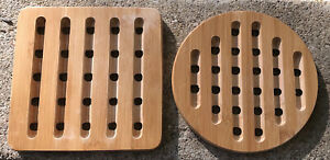 "Vintage light wood modern style trivets (2) 7"""