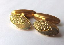 Vintage SPRING LOADED CHAIN LINK CUFFLINKS Gold Tone Decorative Faces FREE P&P