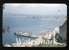1950s red border kodachrome photo slide  Tanker Ship in bay