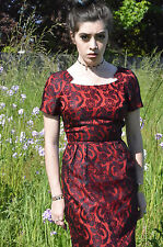 Amazing Vintage Pin Up Bombshell Red Dress with Black Lace Overlay