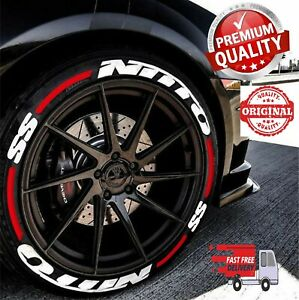 "Permanent Tire Lettering Stickers NITTO SS + STRIPES 16""-22""FOR4Tires 1.25""inch"