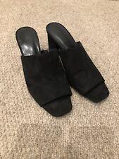Zara Size 5/38 Black Suede Open Toe Block Heel Slip On Mules
