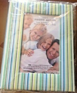 MBI PHOTO ALBUM GREEN BLUE WHITE STRIPE HOLDS 36  PHOTOS 4 x 6 NEW