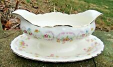 Vtg Pale Pink Roses Pope Gosser Sterling Gravy Boat w/ Attached Drip Tray
