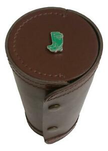 Green Wellies 1-10 Numbered Cups in Brown Leather Popper Case 162