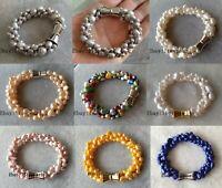 3 Stränge 6-9 mm weiß / grau / pink / gelb / blau /lila Barock Perle Armband