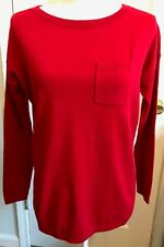 Womens TALBOTS Crewneck SWEATER  RED Chest Pocket Size SP Small Petite NWT