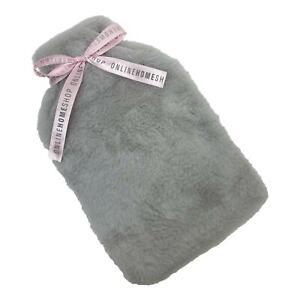 Online Home Shop Luxury Hot Water Bottle Cover ONLY Warm Faux Fur Fleece, Silver