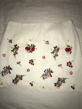 New Look White Cotton Embroidered Skirt Size 16