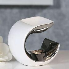 36926 Aromabrenner Curce aus Keramik für Teelicht weiß silber H 14 cm B 13,5cm