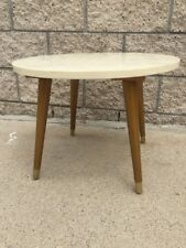 Mid Century Beige White Swirl Faux Marble Round Accent Table 002