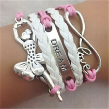 Infinity Love Ballet Girl Dream Friendship Leather Charm Bracelet plated Silver