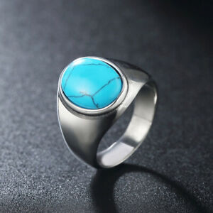Vintage Turquoise Inlay Oval Signet Ring Stainless Steel Men's Rings Biker Punk