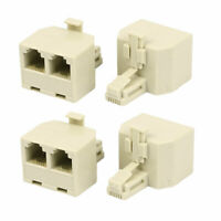 4pcs Beige RJ11 6P4C Male to Female Telephone Extension Connector Splitter