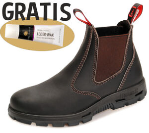 Redback Safety Boots - komplett schwarze Sohle BUSBOK claret-brown + Lederfett