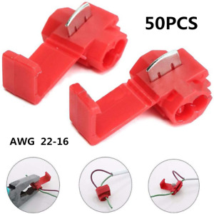 50Pcs 22-16 Gauge Red Quick Splice Tap Wire Connectors Install Terminals