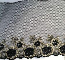 Vestido de baile Flor Bordada Parche De Oro Negro Encaje motivo de Apliques de báscula de pecho