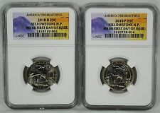 2010 P&D Yellowstone NP ATB 25c Quarters 2 Coin Set NGC MS66 FDI w/BANNED LABEL