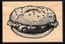 HAMBURGER CHEF LETTUCE SESAME BUN BBQ food Stampa Barbara 1999 wood RUBBER STAMP
