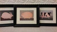 Warren Kimble  Glass Framed American Folk Art Rabbit /Pig/Cow Print Pre-owned