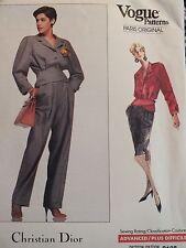 X-Rare VOGUE PARIS ORG 2108 C.DIOR~Peplum Jacket Pants & Skirt PATTERN 6-8-10 UC