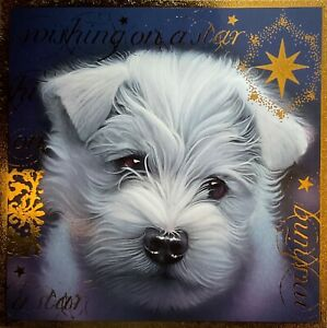 CHARITY CHRISTMAS CARD - WESTIE PUPPY - 'WISHING ON A STAR' - SINGLE CARD