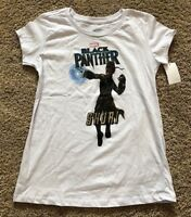 NWT Girls White Short Sleeve Marvel Black Panther Shuri Top Small 6/6X
