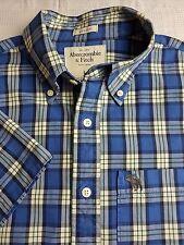 Abercrombie & Fitch para Hombre Camisa Cuadros Blanco Azul L Manga Corta