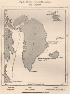 Routes of Arctic Navigators. Greenland 1885 old antique vintage map plan chart