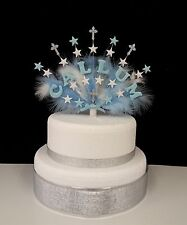 Personalised Christening Cross and Feather Cake Topper, decoration