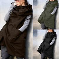 UK Women Hooded Hoodies Zip Up Coat Jacket Sleeveless Tops Waistcoat Gilet Plus