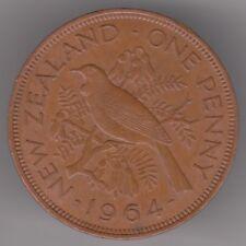 New Zealand 1d Penny 1964 Bronze Coin - Tui Bird