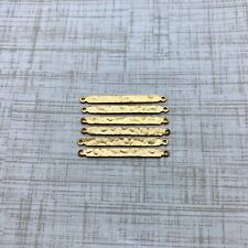 6 Vintage Double Connector Brass Plated Pendants (MP116)