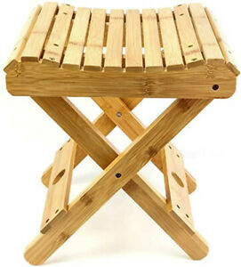 Folding Bamboo Step Stool, Small Chair Fully Assembled Wooden Spa Bath Chair