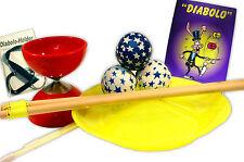 Top Jonglier Set: Diabolo inkl.Stäbe, Holder + Lernfibel, 3 Bälle, Teller + Stab