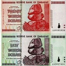 20, 50 TRILLION ZIMBABWE DOLLAR MONEY CURRENCY.UNC* USA SELLER * 10 100.