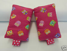 Baby Carrier Dribble Teething Pads Suits Most Carriers + Ergo -  Owls On Pink